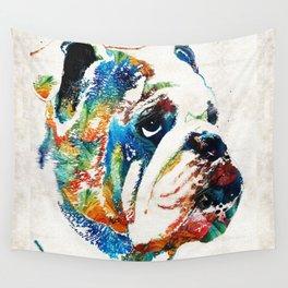 Bulldog Pop Art - How Bout A Kiss - By Sharon Cummings Wall Tapestry