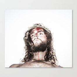 silhouette of compassionate face of Jesus with crown of thorns  Canvas Print