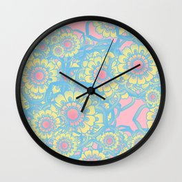 Pastel colored daisies Wall Clock