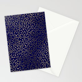 Gold Berry Branches on Navy Stationery Cards