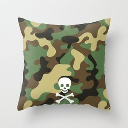 SKULL - CAMO & WHITE Throw Pillow