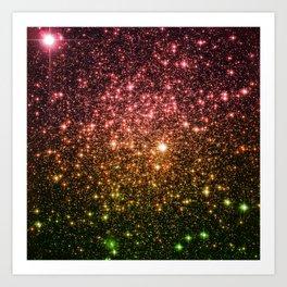 Rose Gold Green Galaxy Sparkle Art Print