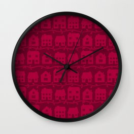 Cottage Charm in Raspberry Pink Wall Clock