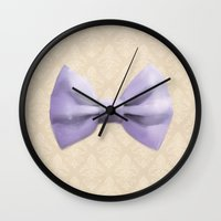 bow Wall Clocks featuring Bow by Naomi Shingler