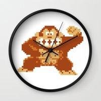 donkey kong Wall Clocks featuring Donkey Kong Bits by adovemore