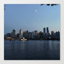 The Moon Rises Above Vancouver Skyline Canvas Print