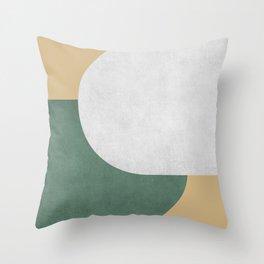 Halfmoon Colorblock - White Green on Gold Throw Pillow