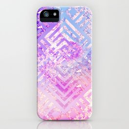 Holographic Glam - Geometric Pattern on Holo Effect Background iPhone Case