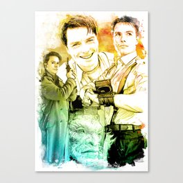 Captain Jack Harkness inspired Mixed Media Watercolor Canvas Print