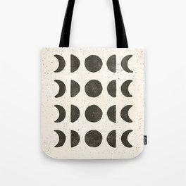 Moon Phases - Black on Cream Tote Bag