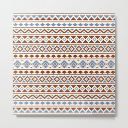 Aztec Essence Pattern II Rust Blue Cream Metal Print