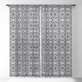 Pantone Lilac Gray and Black Rings Circle Heaven 2, Overlapping Ring Design Sheer Curtain