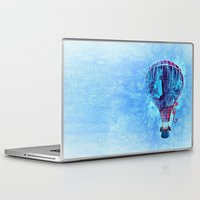 hot air balloon Laptop & iPad Skins featuring Hot Air Balloon Love by Berberism Lifestyle