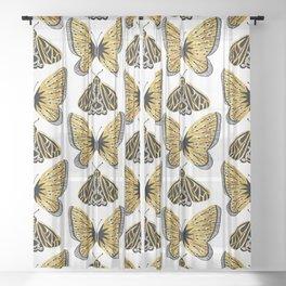 Golden Butterfly & Moth Sheer Curtain
