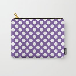 White Polka Dots with Purple Background Carry-All Pouch