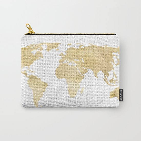 Gold World Map Carry-All Pouch