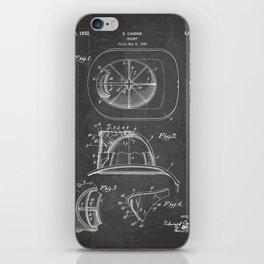 Firemans Helmet Patent - Fire Fighter Art - Black Chalkboard iPhone Skin