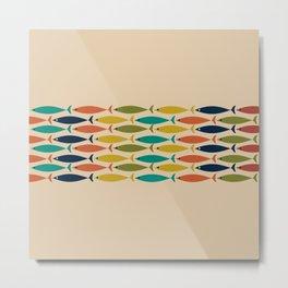 Midcentury Modern Multicolor Fish Stripe Pattern in Olive, Mustard, Orange, Teal, Beige Metal Print