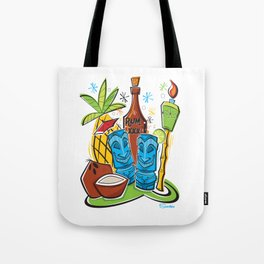 Tiki Hawaiian Happy Hour by Art of Scooter Tote Bag