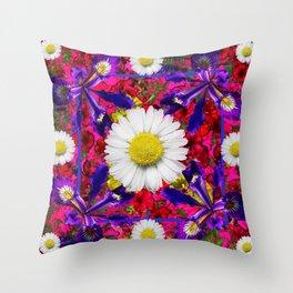 White Shasta Daisies Purple Floral Garden Art Throw Pillow