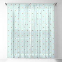 Mint & Rose Gold Polka Dot Pattern Sheer Curtain