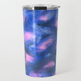 Abstract Brush Stroke Blue Travel Mug