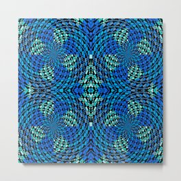 Retro Psychedelic Patchwork Geometry Metal Print
