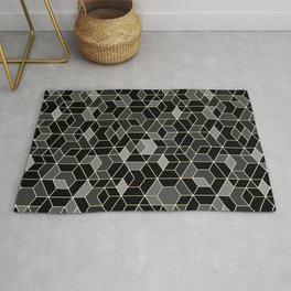 Black geometry / hexagon pattern Rug