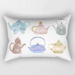 Waterclor Teapot Collection Rectangular Pillow