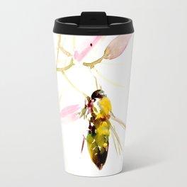 Bee and Pink Flowers Travel Mug