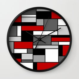 Mid Century Modern Color Blocks in Red, Gray, Black and White Wall Clock