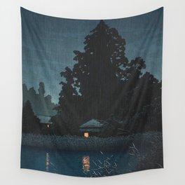 Hasui Kawase, Rain At Omiya, Saitama Prefecture - Vintage Japanese Woodblock Print Art Wall Tapestry