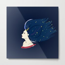 Blue-haired girl-night Metal Print