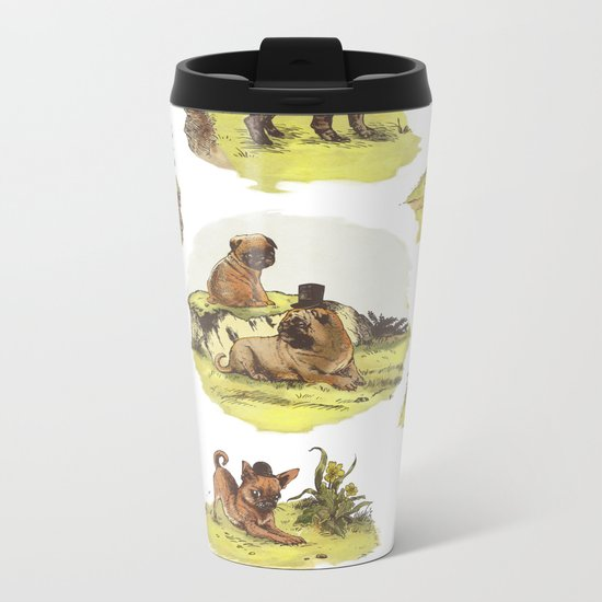 Vintage Dogs Metal Travel Mug
