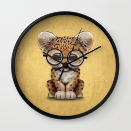 Cute Baby Leopard Cub Wearing Glasses on Yellow Wall Clock