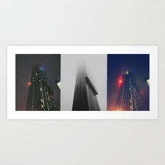 Beetham Tower in different weather. Art Print