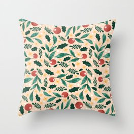 Holly Pattern Throw Pillow