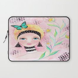 Whimiscal Girl with White Dots and Flowers  Laptop Sleeve