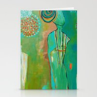 "flora bowley Stationery Cards featuring ""Wish Believe"" Original Painting by Flora Bowley by Flora Bowley"