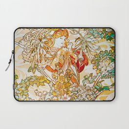 Alphonse Mucha - Woman with Daisy Laptop Sleeve