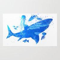 shark Area & Throw Rugs featuring Shark by Corina Rivera Designs