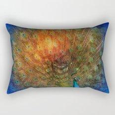 Peacock in Blue Rectangular Pillow