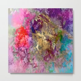 Galaxy, abstract, fire+ice gold accent Metal Print