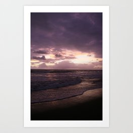purple beach sunset, puerto vallarta Art Print