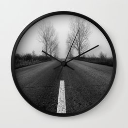 Abandoned Misty Road Black and White Fine Art Wall Clock
