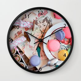 Dessert Macaron Cookies Dessert Dish Thread Wall Clock