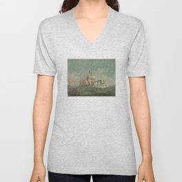 Vintage Fishing Fleet Painting (1882) Unisex V-Neck