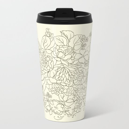flowers and leaves on a yellow background Metal Travel Mug