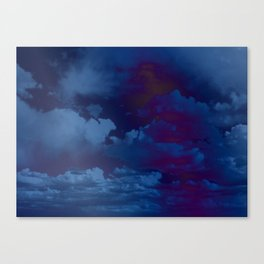 Clouds in a Stormy Blue Midnight Sky Canvas Print
