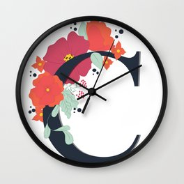 Floral Letter C Wall Clock